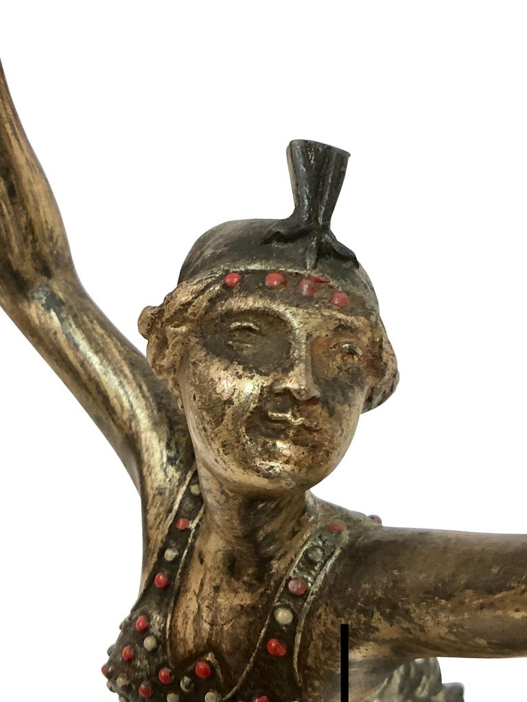 Cold-Painted Table Lamp, the Tambourine Dancer, Sculpture in Spelter, Art Deco, France, 1930s For Sale