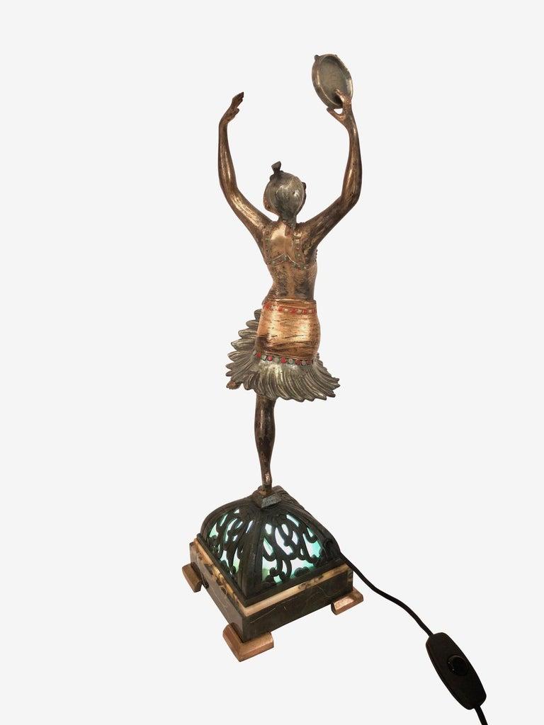 Table Lamp, the Tambourine Dancer, Sculpture in Spelter, Art Deco, France, 1930s In Good Condition For Sale In Baden-Baden, DE