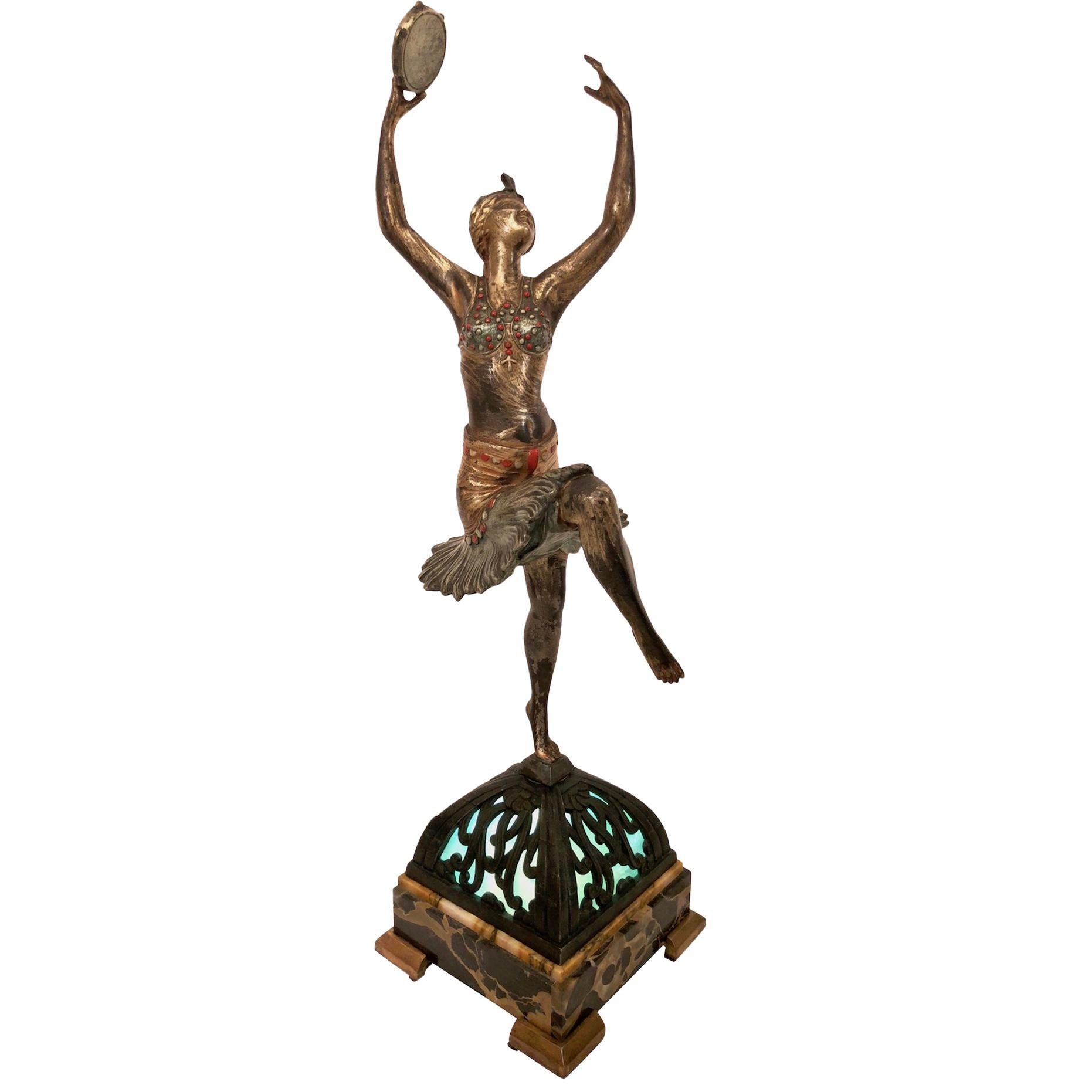 Table Lamp, the Tambourine Dancer, Sculpture in Spelter, Art Deco, France, 1930s