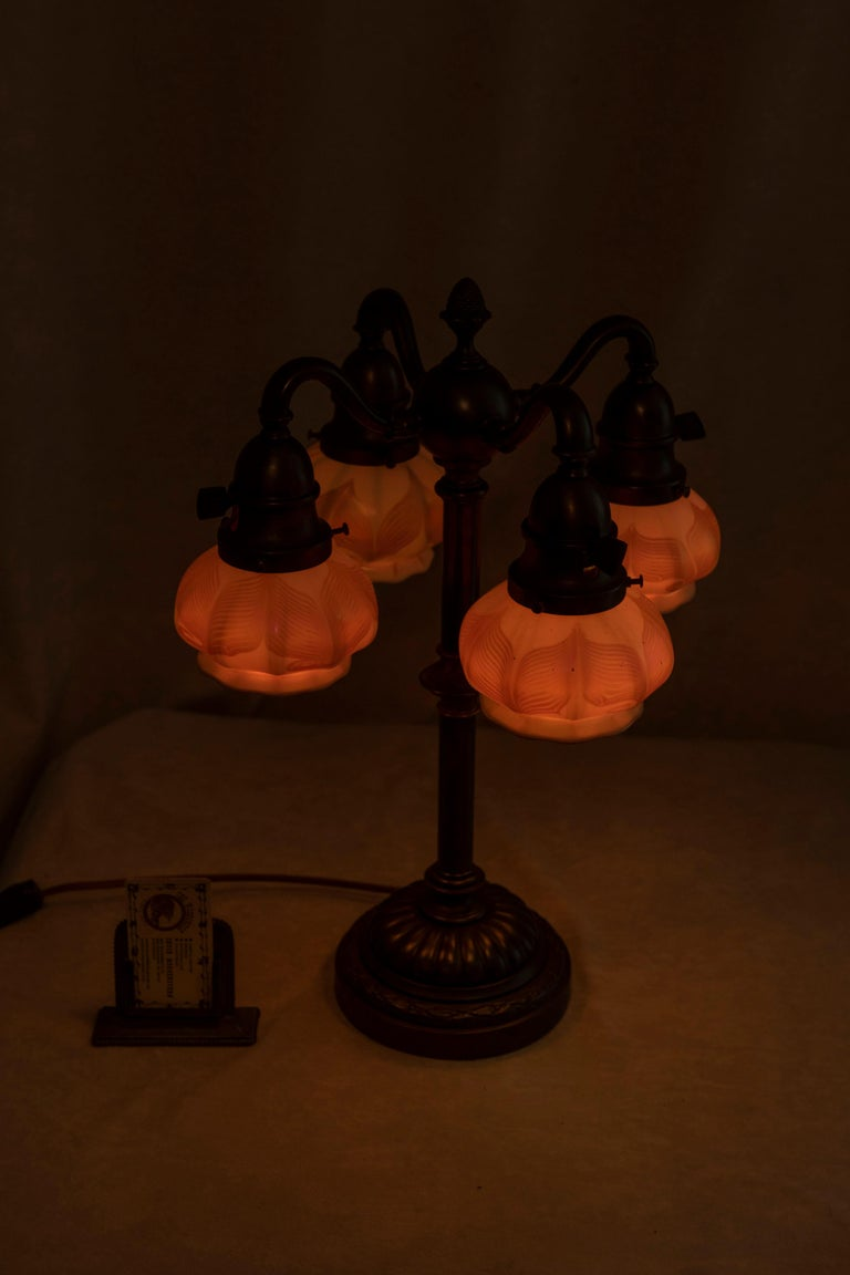 Bronze Table Lamp w/ 4 Signed Hooked Feather Quezal Art Glass Shades, Arts & Crafts For Sale