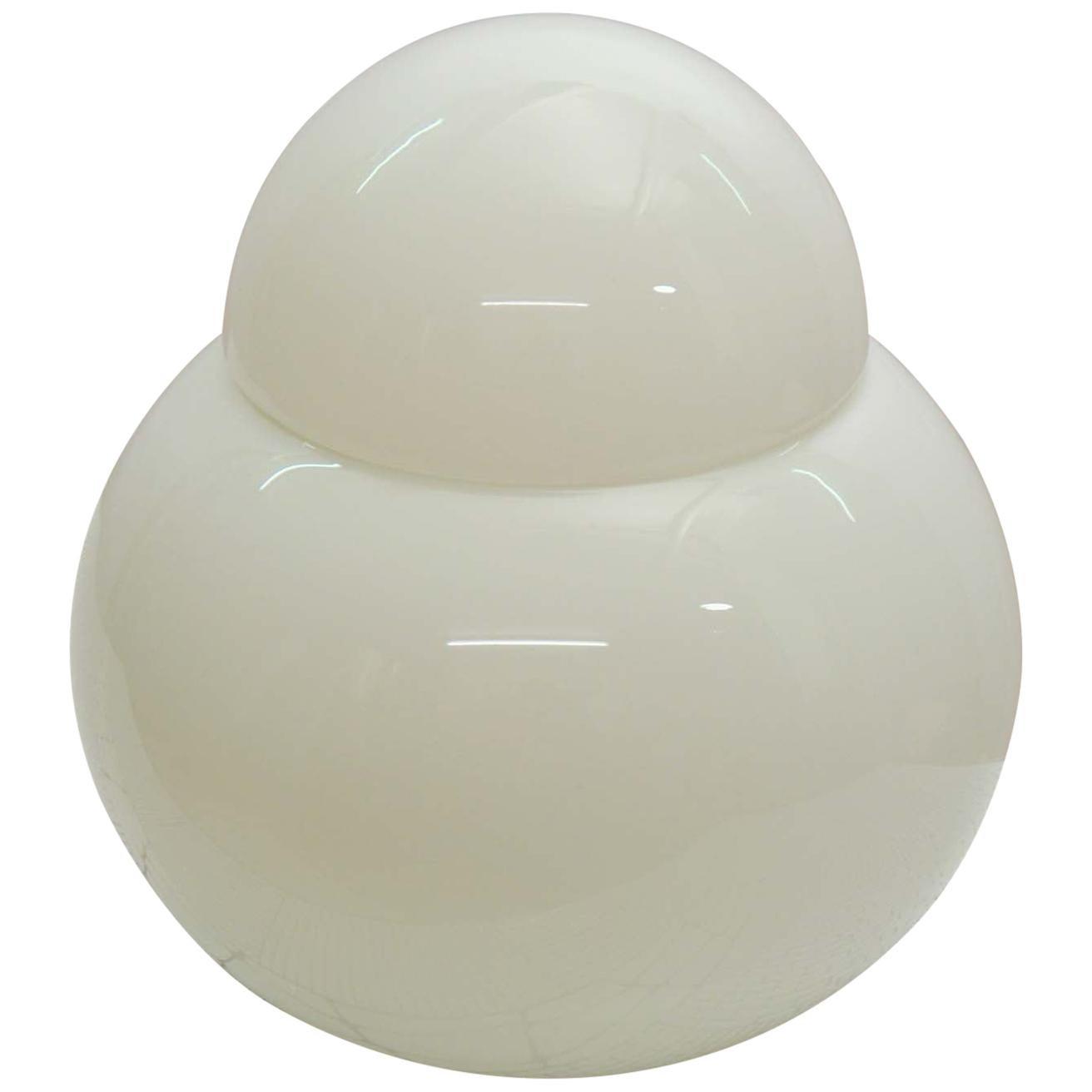 Table Lamp White Blown Glass by Sergio Asti for Fontana Arte