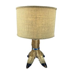 Table Lamp With 4 Tier Deer Hoof With Nickel Bands And Antler Finial