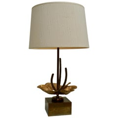 Table Lamp with Brass Flower