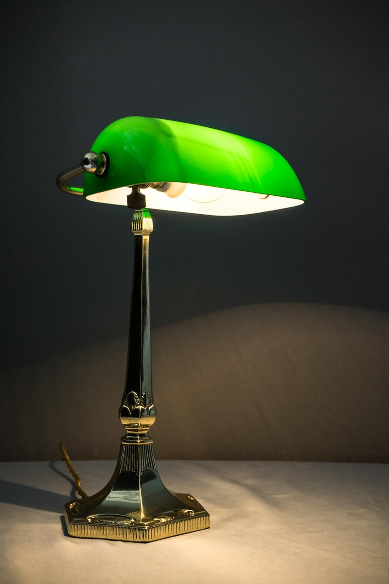 Table Lamp with Green Glass in the Style of Jugendstil For Sale 6