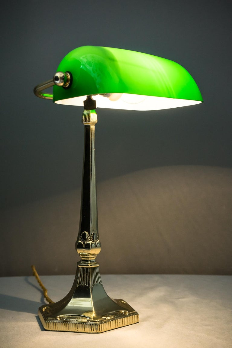 Table Lamp with Green Glass in the Style of Jugendstil For Sale 10