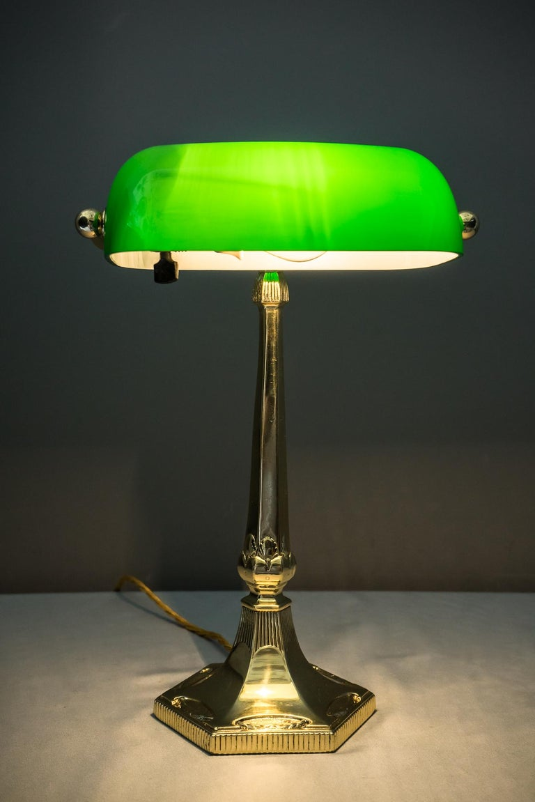 Table Lamp with Green Glass in the Style of Jugendstil For Sale 11
