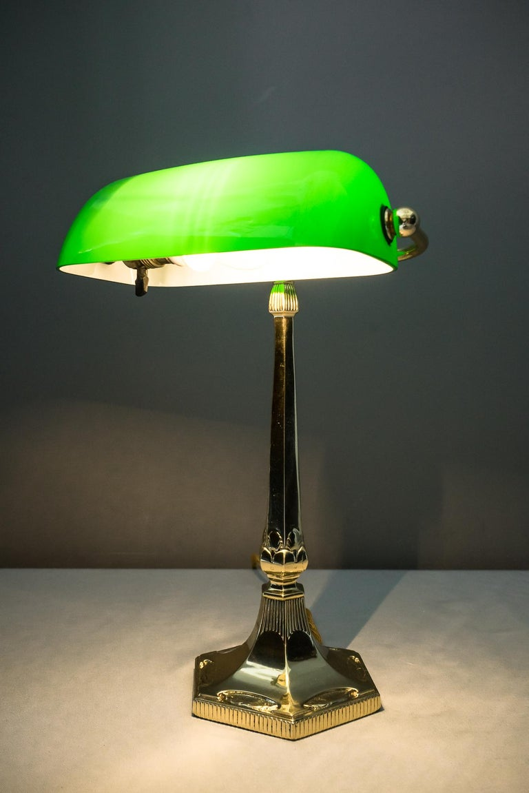 Table Lamp with Green Glass in the Style of Jugendstil For Sale 12
