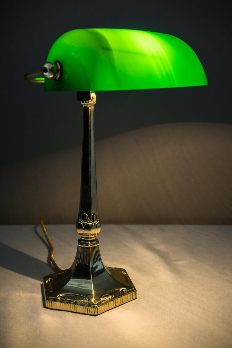 Austrian Table Lamp with Green Glass in the Style of Jugendstil For Sale