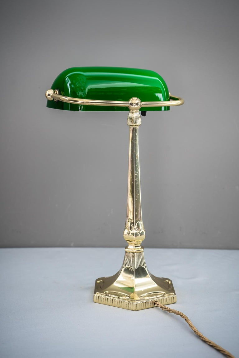 Contemporary Table Lamp with Green Glass in the Style of Jugendstil For Sale