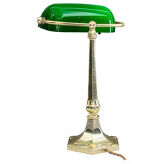 Table Lamp with Green Glass in the Style of Jugendstil