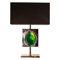 Table Lamp with Jade Body, Solid Brass