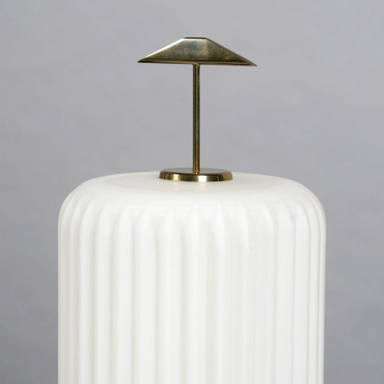 Mid-Century Modern Mid Century Modern Table Lamp with Opaque Glass Shade attributed to Arteluce For Sale