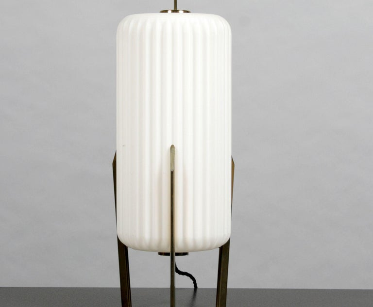 Italian Mid Century Modern Table Lamp with Opaque Glass Shade attributed to Arteluce For Sale