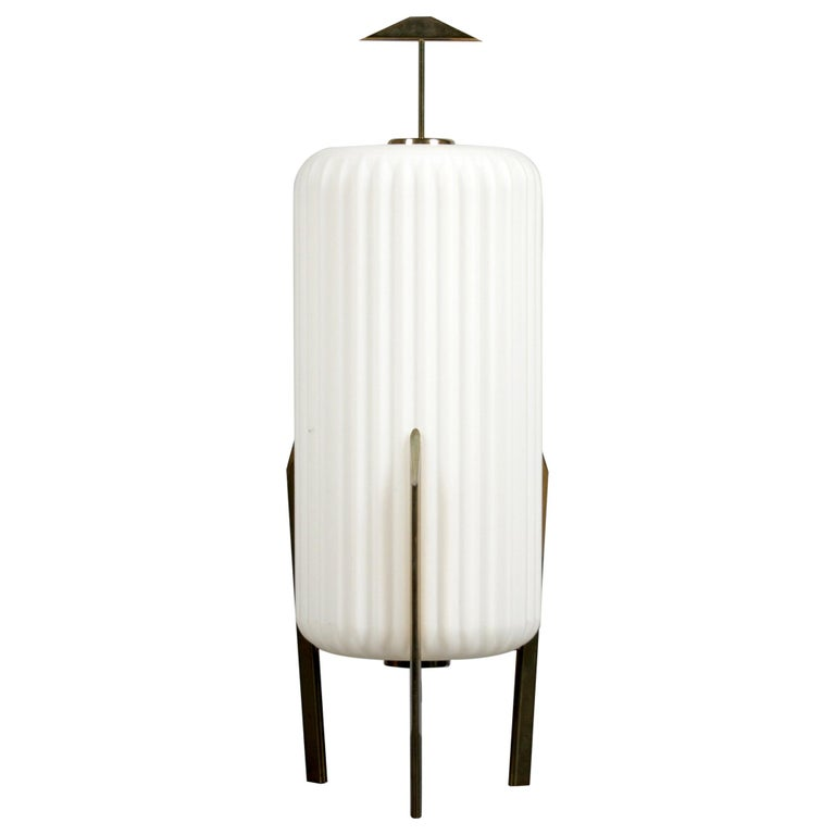 Mid Century Modern Table Lamp with Opaque Glass Shade attributed to Arteluce For Sale