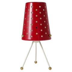 Table Lamp with Pierced Red Shade and Brass Details, 1950s