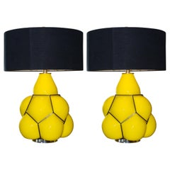 Table Lamp Yellow Set of Two in Glass with Black Lampshade