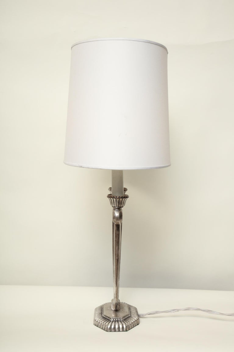 Table Lamps Art Deco Silver Plated, France, 1920s For Sale 5