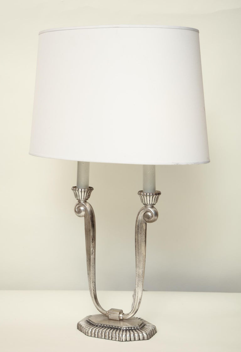 French Table Lamps Art Deco Silver Plated, France, 1920s For Sale