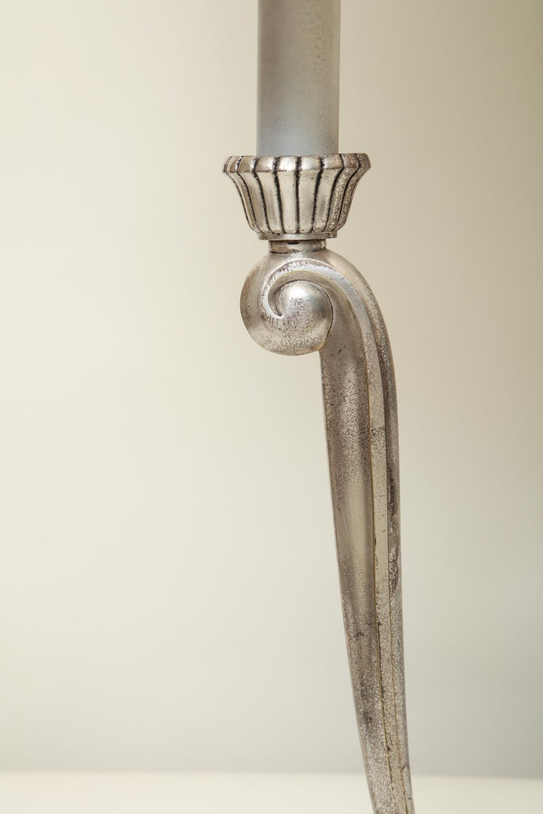 Polished Table Lamps Art Deco Silver Plated, France, 1920s For Sale