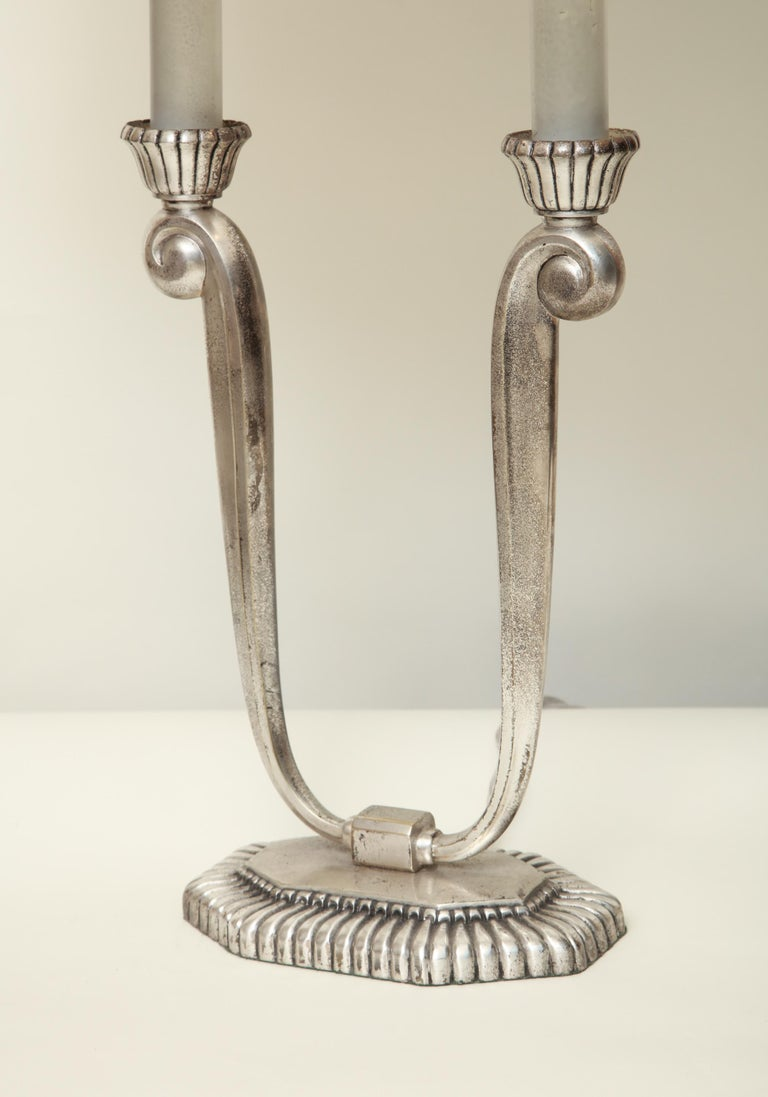 Table Lamps Art Deco Silver Plated, France, 1920s For Sale 3