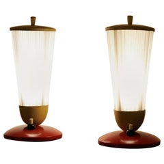 Table Lamps / Bedside Lamps Duo White Cone, 1950s