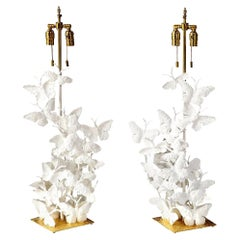 Table Lamps, Butterflies, Tall, White Plaster and Gold Leaf Base, Pair of Lamps