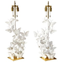 Table Lamps, Butterflies, White Plaster and Gold Leaf Base, Pair