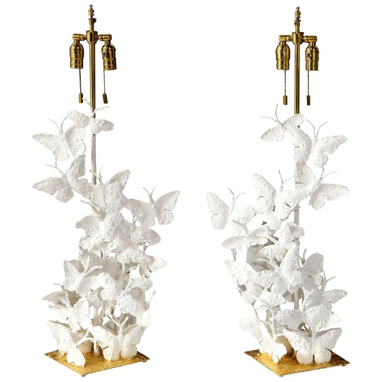 Table Lamps, Butterflies, White Plaster and Gold Leaf Base, Pair For Sale