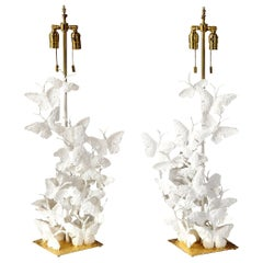 Table Lamps, Butterflies, White Plaster and Gold Leaf Base, Pair of Lamps