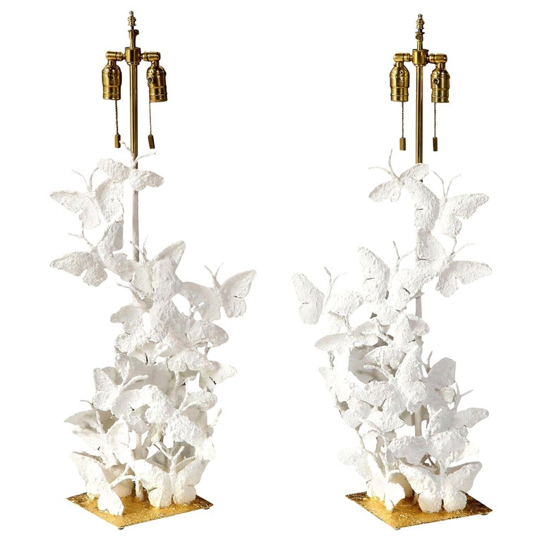 Table Lamps, Butterflies, White Plaster and Gold Leaf Base, Pair of Lamps For Sale
