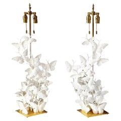 Table Lamps, Butterflies, White Plaster and Gold Leaf Base, Pair of Lamps, Tall