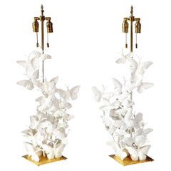 Table Lamps, Butterflies, White Plaster and Gold Leaf Base, Tall Pair