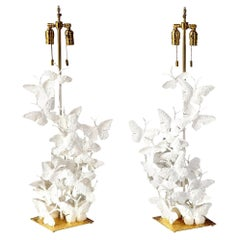 Table Lamps, Butterflies, White Plaster and Gold Leaf Base, Tall Pair, New