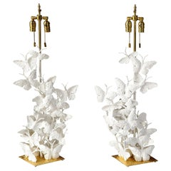 Table Lamps, Butterflies, White Plaster and Gold Leaf