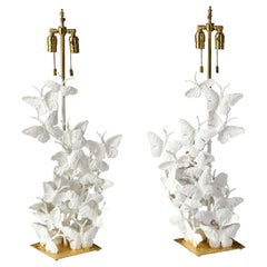 Table Lamps, Butterflies, White Plaster and Gold Leaf, Organic Shape