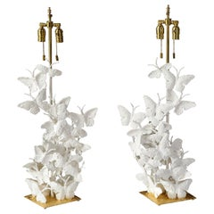 Table Lamps, Butterflies, White Plaster and Gold Leaf, Tall
