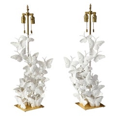 Table Lamps, Butterflies, White Plaster and Gold Leaf, Tall Pair of Lamps