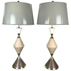 Table Lamps by Gerald Thurston in Multi Colored Ceramic & Brass for Lightolier
