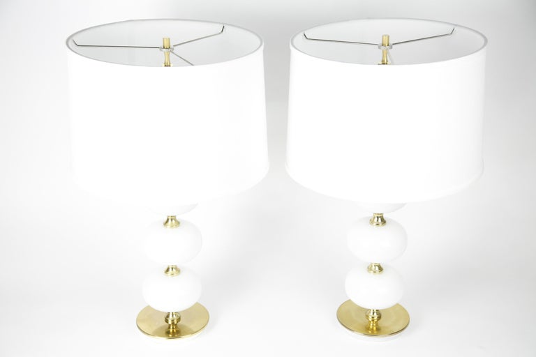 Table Lamps by Stilarmatur Tranås Opaline Glass, Brass Bases, Sweden, 1970 For Sale 3