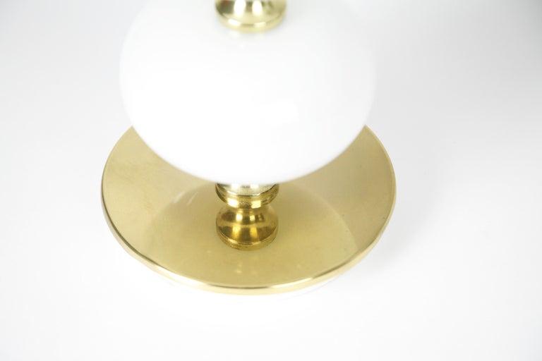 Table Lamps by Stilarmatur Tranås Opaline Glass, Brass Bases, Sweden, 1970 For Sale 5