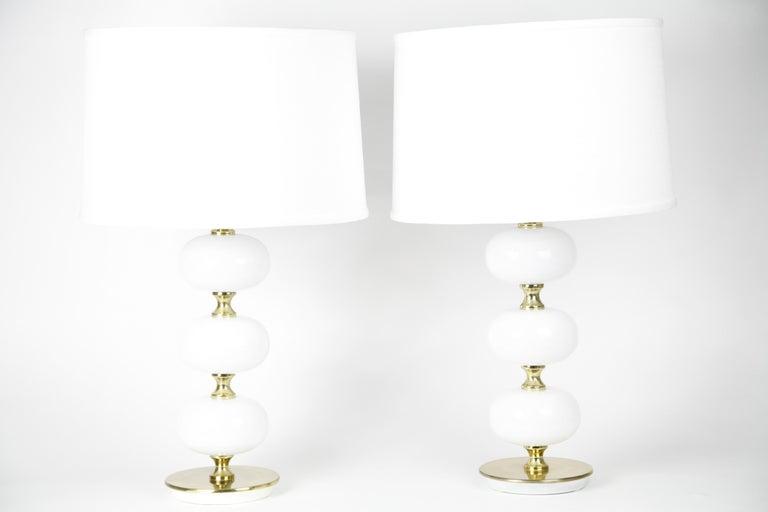 Table Lamps by Stilarmatur Tranås Opaline Glass, Brass Bases, Sweden, 1970 For Sale 7