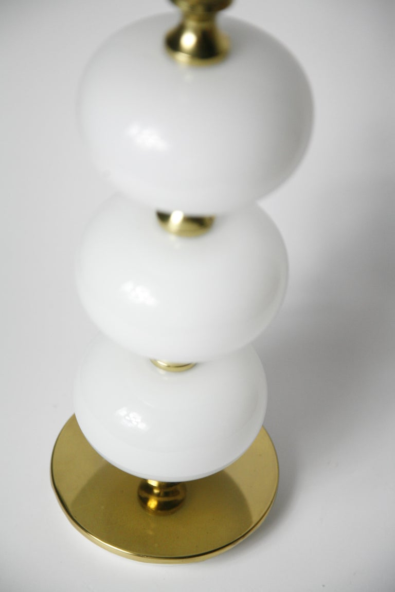 20th Century Table Lamps by Stilarmatur Tranås Opaline Glass, Brass Bases, Sweden, 1970 For Sale