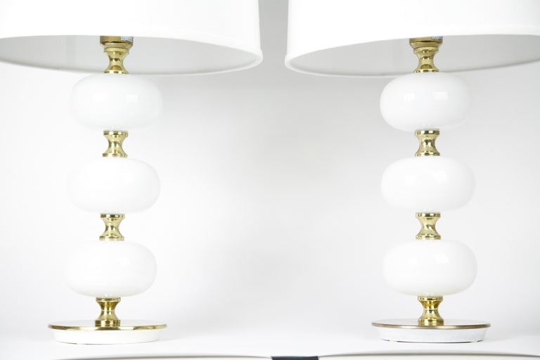 Table Lamps by Stilarmatur Tranås Opaline Glass, Brass Bases, Sweden, 1970 For Sale 2