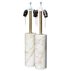 Table Lamps in Calacatta Marble and Brass by Nessen Lamps, Pair