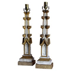 Table Lamps Made from Antique Painted Fragments with a Gothic Revival Feel