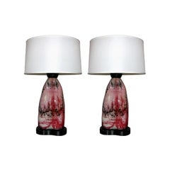 Table Lamps Pair Mid-Century Modern Abstract Expressionist, Italy, 1950s