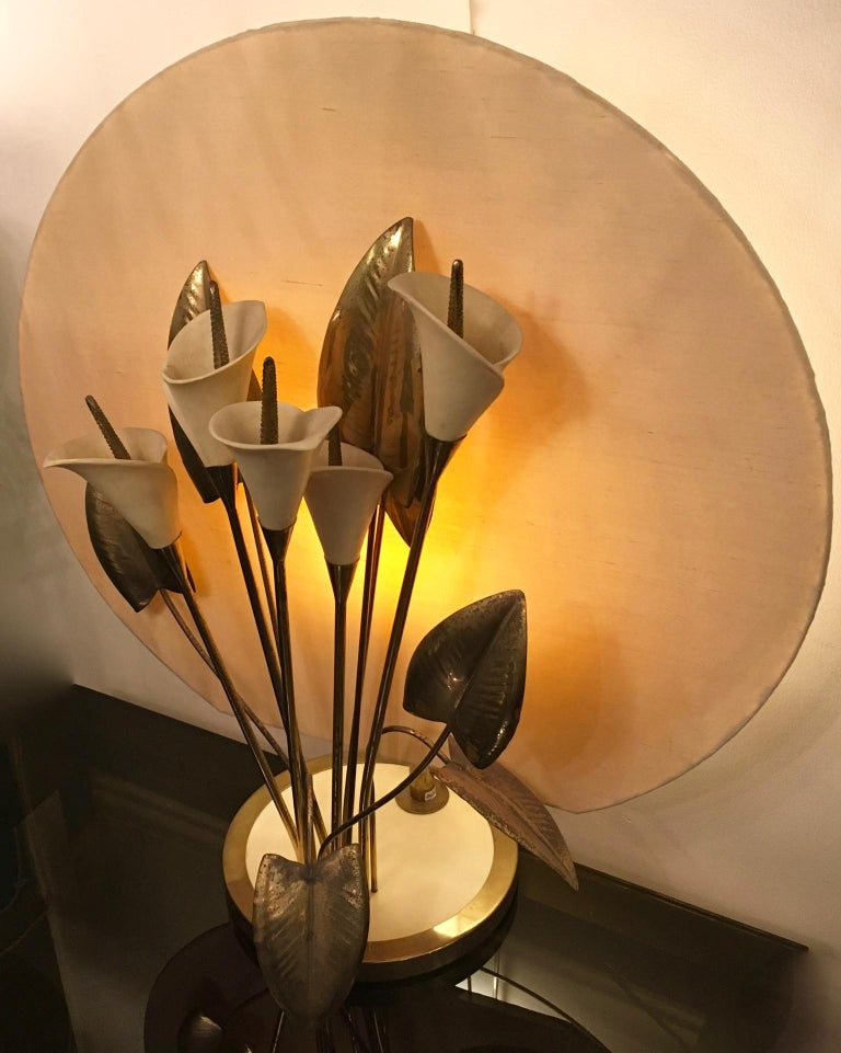 Italian Table Light, Interchangeable Brass and Ceramic Lillies, Italy, circa 1960s-1970s For Sale