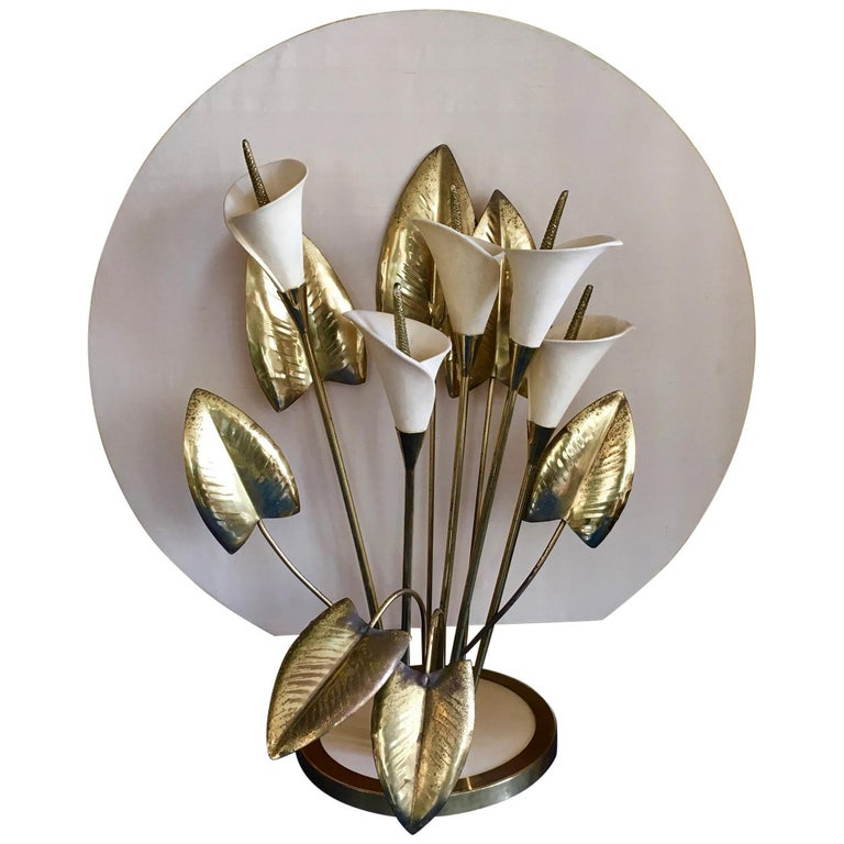 Table Light, Interchangeable Brass and Ceramic Lillies, Italy, circa 1960s-1970s For Sale