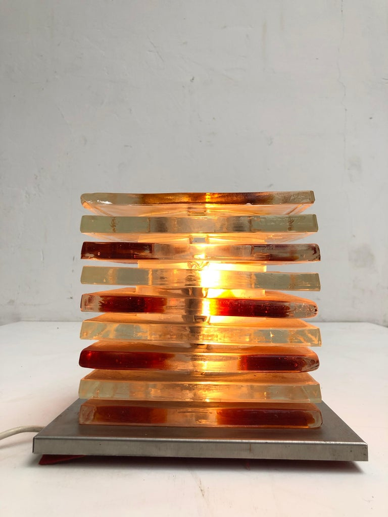 Italian Table Light Sculpture Design by Albano Poli for Poliarte, Italy, 1970s For Sale