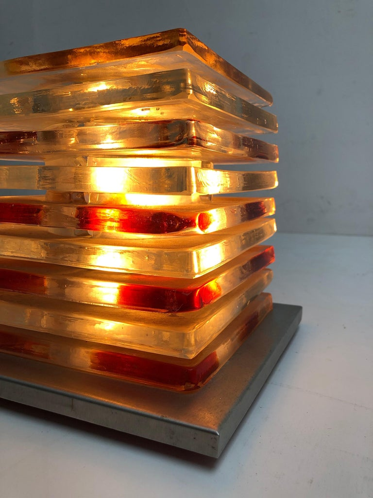 Stainless Steel Table Light Sculpture Design by Albano Poli for Poliarte, Italy, 1970s For Sale
